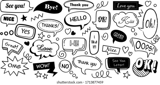 Speech bubbles with text sound. Hand drawn trendy design cartoons elements. Communication tags. Vector illustration doodle colourful text banners set communication clouds, comic cartoon sticker