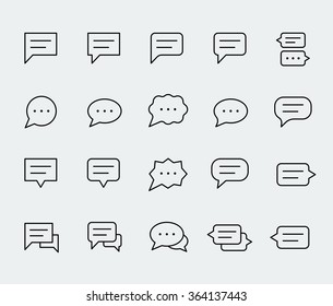 Speech bubbles vector icon set in thin line style
