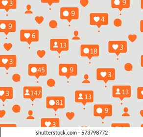 Speech bubbles. Vector. Seamless pattern. Speech bubbles for social networks. Abstract background. Seamless pattern. Vector. Likes, comments, followers and subscribers in social communication.