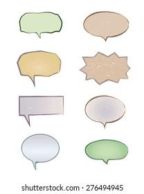 Speech bubbles vector set. Comic in doodle style.