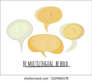 Speech Bubbles Vector Set. Tender Colorful Comic Elements in Blue, Turquoise, Orange, Green with Hello in English, German: Hallo, Spanish: Hola, Italian: Ciao. Language School, Translators Agency Logo