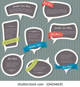 Speech bubbles in vintage style. Vector set