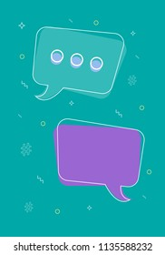 Speech bubles composition. Chat bot concept. Virtual assistance elements. Vector illustration.