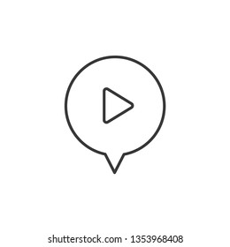 Speech Chat Bubble, Play modern simple clear flat outline vector icon, symbol