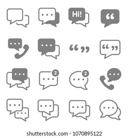 Speech chat bubbles icon set. Included the icons as information, forum, message, speech, quote, comment, review, notification and more