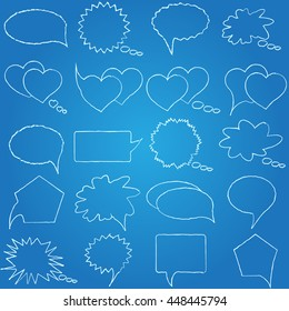 Speech, conversation, thoughts blueprint. Set of isolated elements of the dialogue. Collection bubbles messages. Vector illustration.