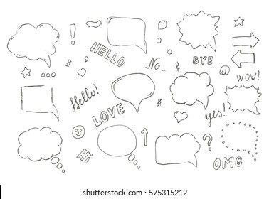 Speech hand drawn bubbles set. Talk clouds sketching illustration