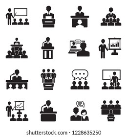Speech Icons. Black Flat Design. Vector Illustration.