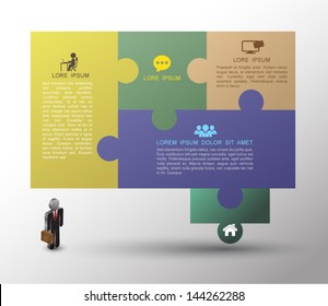 Speech jigsaw puzzle template / can be used for infographics / numbered banners / horizontal cutout lines / graphic or website layout vector / business concept