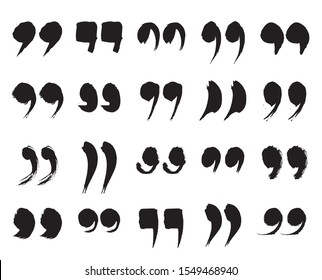 Speech Marks, Quote Sign Icons. Collection of Black Hand Painted Quotation Marks Isolated On a White Background. Vector Illustration