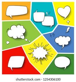 Speech popart elements. Comic cartoon shapes for dialogs thinking and talking on varicoloured backgrounds