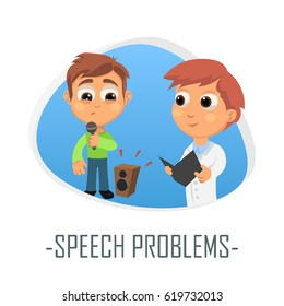 Speech problems medical concept. Vector illustration. Doctor and patient are talking in the hospital. Isolated on white background.