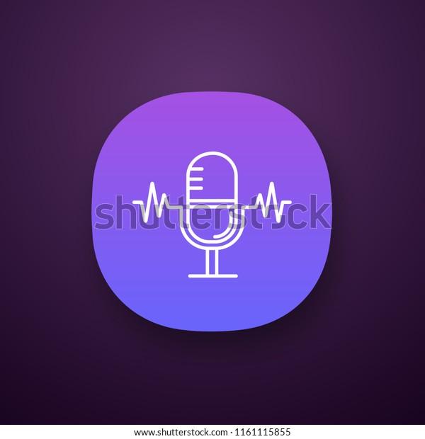 Speech Recognition App Icon Voice Command Stock Vector