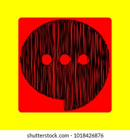 Speech, talk bubble with ellipsis icon. Vector. Black scribble icon in red container with rounded corners at yellow background. Isolated.