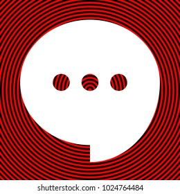 Speech, talk bubble with ellipsis icon. Vector. White icon on red and black radial pattern as background. Isolated.