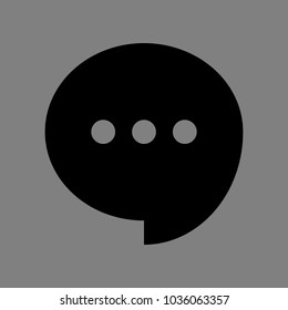 Speech, talk bubble with ellipsis icon. Vector. Black icon on medium gray background. Isolated.