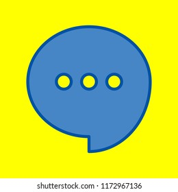 Speech, talk bubble with ellipsis icon. Vector. Office style blue icon at yellow background.