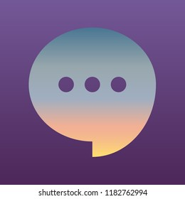 Speech, talk bubble with ellipsis icon. Vector. Evening gradient icon at violet background.