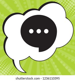 Speech, talk bubble with ellipsis icon. Vector. Black icon in speech bubble at popart yellow green background.