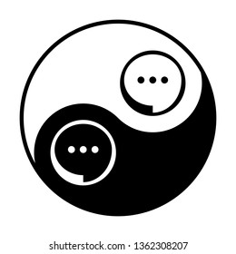 Speech, talk bubble with ellipsis icon. Vector. Black and white icon inside circles of yin and yang symbol at white background.