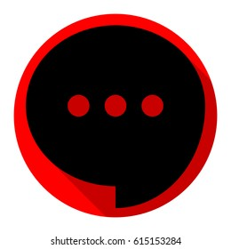 Speech, talk bubble with ellipsis icon. Vector. Flat black icon with flat shadow on red circle with white background. Isolated.
