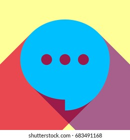 Speech, talk bubble with ellipsis icon. Vector. Deep sky blue icon with two flat violet and raspberry semitransparent shadows on canary background.