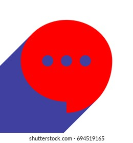 Speech, talk bubble with ellipsis icon. Vector. Red flat style icon with dark blue long shadow on white background.