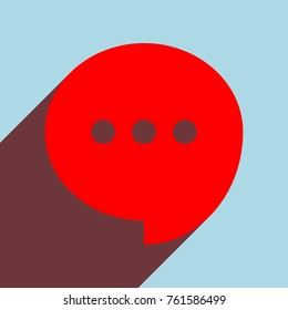 Speech, talk bubble with ellipsis icon. Vector. Red flat icon with infinte wine shadow to left down corner at sky background.