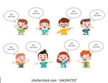 speech talk children faces set