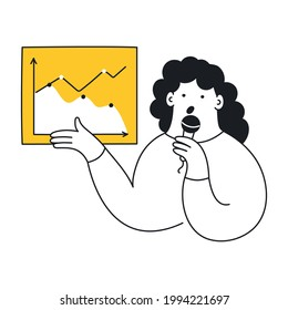 Speech, talk, marketing presentation, finance lecture, briefing. A cute cartoon businesswoman with a microphone talks about marketing test results. Thin line vector illustration on white.