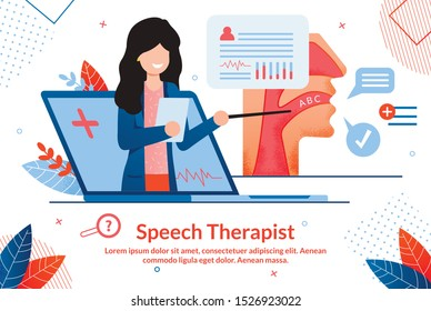 Speech Therapist Consultation, Didactic Aids Treatment Specialist, Psychological Help Online Banner. Female Pedagogue, Doctor with Pointer in Hand Counseling Patients Online Flat Vector Illustration