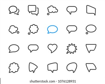 Speech and thinking bubble icons for communication. Vector collection of chat symbols in outline style