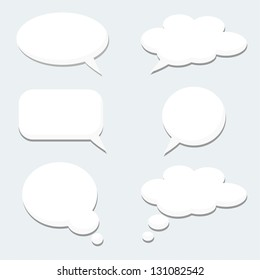 Speech thought bubble set. Isolated cloud icons. Think cartoon bubbles. Flat design. Stock vectors