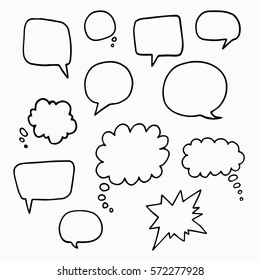 Speech or thought bubbles of different shapes and sizes.Hand drawn cartoon doodle vector  illustration.