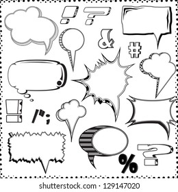 Speech And Thought Bubbles Isolated On White Background Vector Illustration, Graphic Design Useful For Your Design. Comic Style Collection. Funny Design Vector Items illustration
