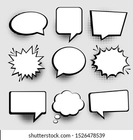Speech or thought bubbles. Retro empty comic speech bubbles set 9 in 1. Vector icon