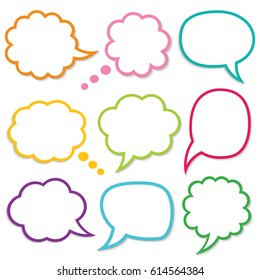 Speech and thought bubbles vector set, eps10