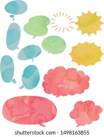 Speech, thought, speaking hand drawn bubbles set water color