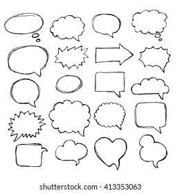 Speech, thought, speaking hand drawn bubbles set. Talk clouds sketching. Balloon shape.