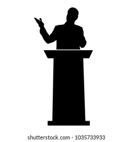 Speech of the tribune, a man speaks for a speaker, a silhouette