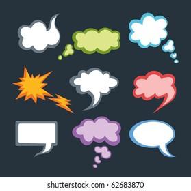 Speech vector clouds on dark background