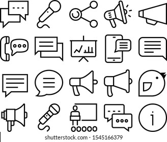 speech vector icon set such as: lecture, modern, organization, politician, spokesman, desk, email, radio, knowledge, info, readme, news, help, empty, quality, telephone, billboard, urgent, computer