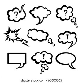 Speech vector  monochrome clouds