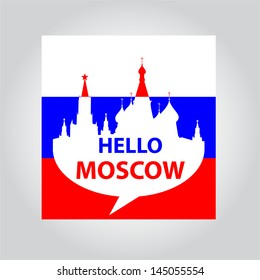 speech-bubble Hello Moscow - the capital of Russia sign on the background of the flag