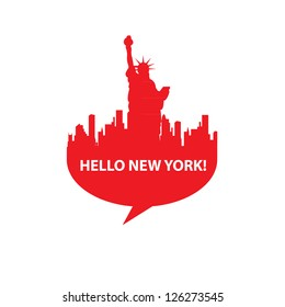 Speech-bubble - Hello New York! vector