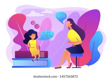 Speech-language pathologist. Basic language skills. Articulation problem. Speech therapy, language therapy, improve language development concept. Bright vibrant violet vector isolated illustration