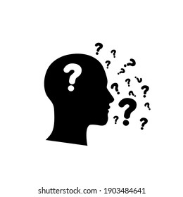 Speechless human icon with question mark design.