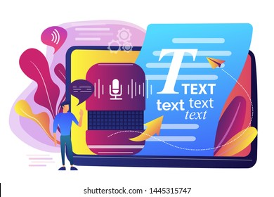 Speech-to-text app, voice recognition application. Convert speech to text, multi-language speech recognizer, voice-to-text software concept. Bright vibrant violet vector isolated illustration