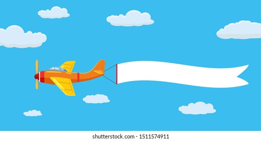 Speed airplane aircraft with advertising banner ribbon in the cloudy sky. Vector isolated illustration