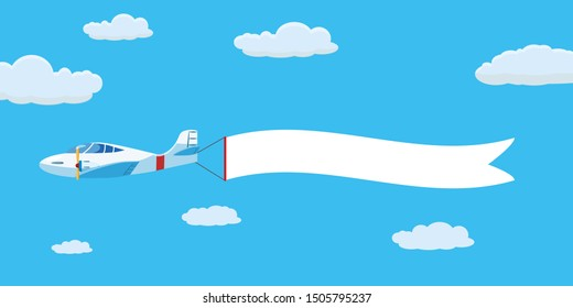 Speed airplane aircraft jet with advertising banner ribbon in the cloudy sky. Vector isolated illustration
